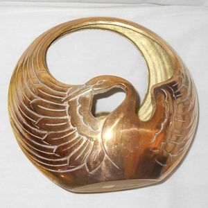 Vintage Collectible Solid Brass Swan Bird Planter